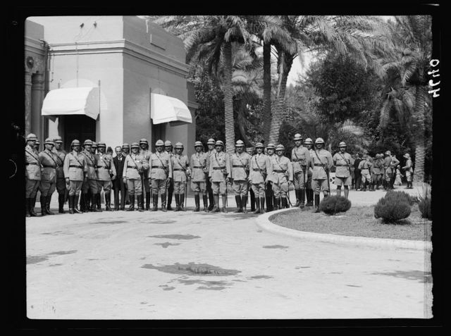 Iraq. (Mesopotamia). Celebration of Iraq becoming member of the League of Nations, Oct. 6, 1932. Baghdad. Group of Iraqian [i.e., Iraqi] army officers. At the Royal Palace