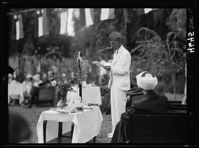 Iraq. (Mesopotamia). Celebration of Iraq becoming member of the League of Nations, Oct. 6, 1932. Baghdad. Close up of His Majesty. Broadcasting his speech