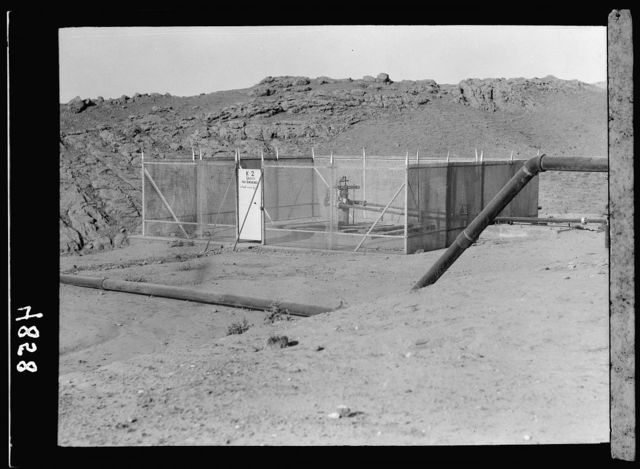 Iraq. Oil wells and camp of the Iraq Petroleum Company. (5 miles S. of Kirkuk). Kirkuk District. A corked oil well