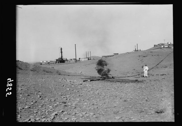 Iraq. Oil wells and camp of the Iraq Petroleum Company. (5 miles S. of Kirkuk). Kirkuk District. The I.P.C. refineries burning surplus gas