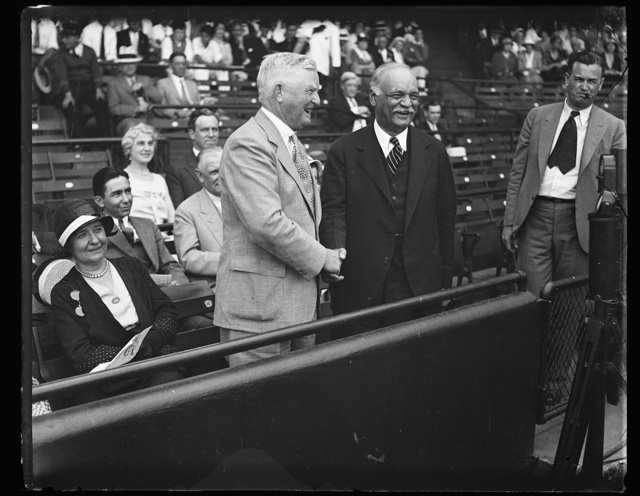 [John Nance Garner and Charles Curtis in stands]