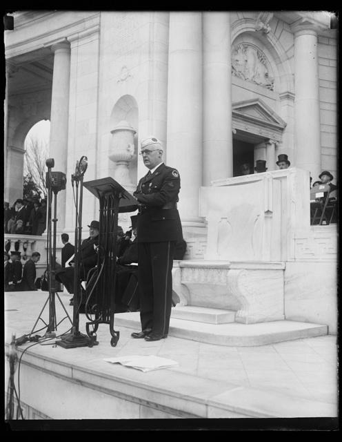 [Man speaking at amphitheater, Arlington National Cemetery, Arlington, Virginia]