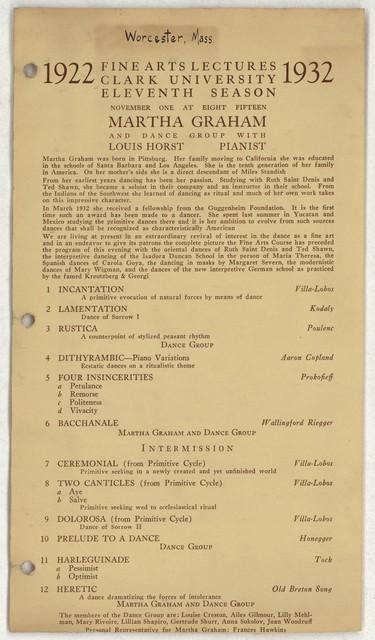 [ Martha Graham, Clark University, November 1, 1932]