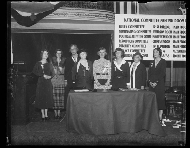 Prominent society women to lead women's wet organization for next year. The social register is well represented in the slats of officers for the Women's Organization for National Prohibition Reform which concluded their meeting in Washington today. In the photograph, left to right: Mrs. William C. Potter, New York, National Treasurer; Mrs. Archibald B. Roosevelt, New York, National Secretary; Mrs. Edward S. Moore, New York Member of Executive Committee; Miss Maude Wetmore, Rhode Island, National Vice Chairman, Mrs. Charles H. Sabin, New York, National Chairman; Mrs. William B. Mason, Washington, D.C., National Vice Chairman; Mrs. Pierre S. Dupont, Delaware, National Vice Chairman; Mrs. E. Roland Harriman, National Finance Chairman