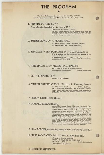 Radio Keith Orpheum Proudly Presents The Inaugural Program of the Radio City Music Hall