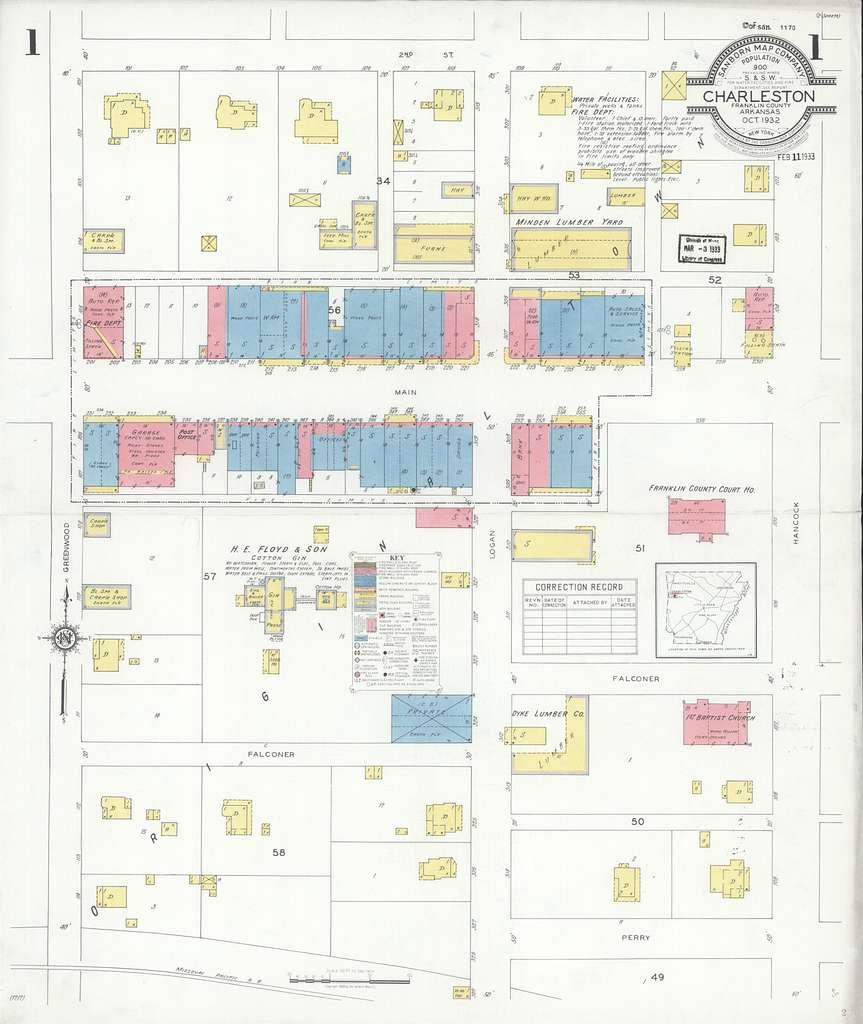 Sanborn Fire Insurance Map from Charleston, Franklin County, Arkansas