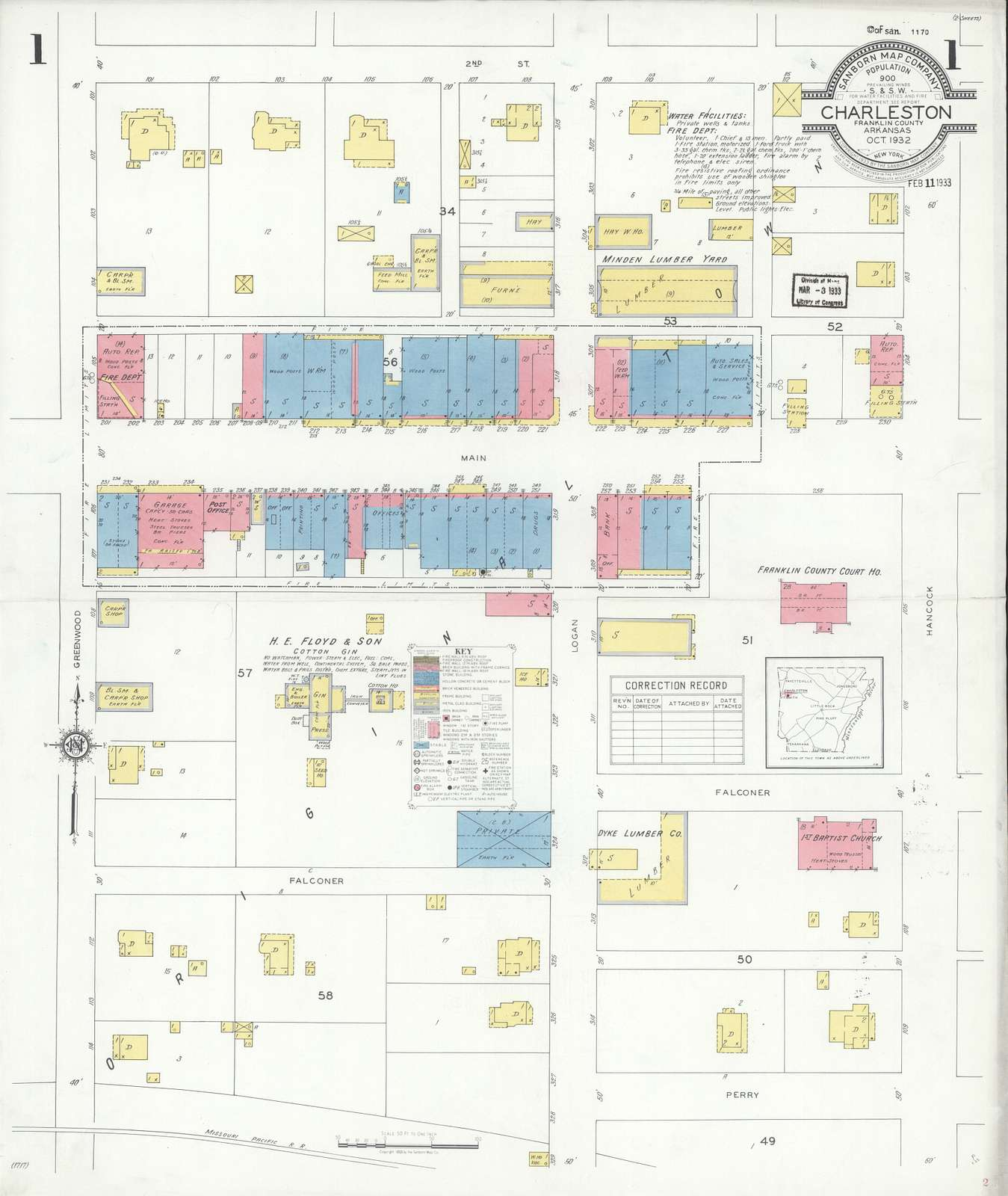 Sanborn Fire Insurance Map from Charleston, Franklin County, Arkansas