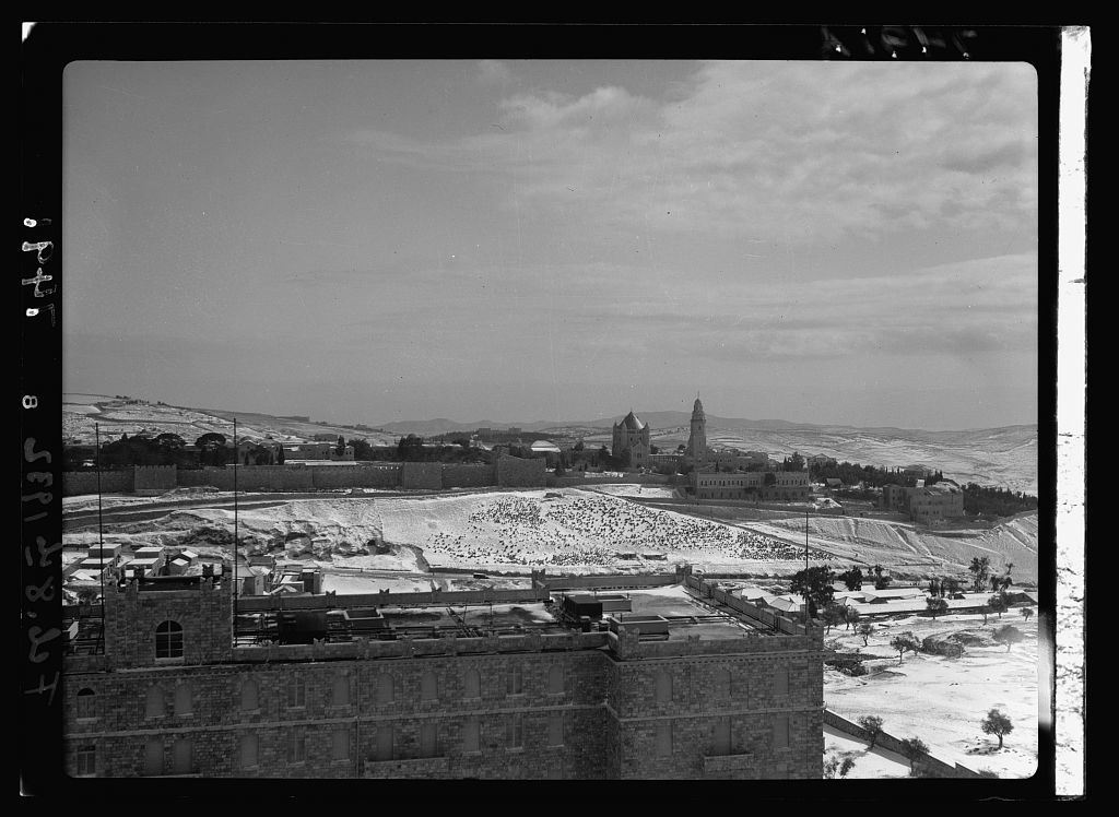 "Snow scene of Jer. [i.e., Jerusalem] from ""Y"" [i.e., Y.M.C.A] tower on Feb. 8, 1932"
