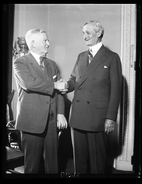 Speaker Garner greets William Gibbs McAdoo. William Gibbs McAdoo, former Secretary of the Treasury under Woodrow Wilson, received a warm greeting form Speaker of the House John N. Garner at the Capitol today. McAdoo, who arrived in Washington by plane today, is leader of the Garner-for-President movement in California. 3/23/32