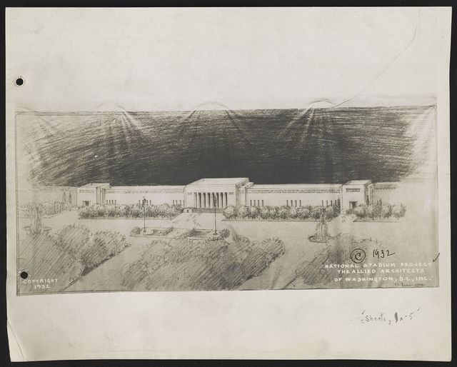 "[Stadium (""National Stadium Project""), Washington, D.C. Bird's-eye view rendering]"