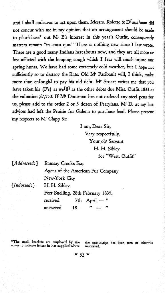 The unfinished autobiography of Henry Hastings Sibley, together with a selection of hitherto unpublished letters from the thirties