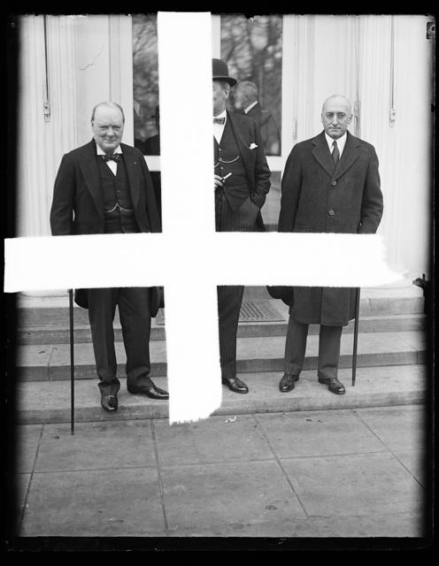 [Winston Churchill, left; at White House, Washington, D.C.]