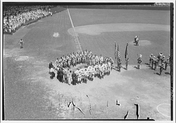 Baseball game at Griffith Stadium. Players honoring Walter Johnson I