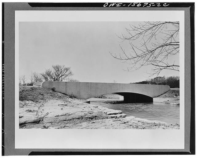 Bridges. Bridge on Norris freeway which was built by TVA (Tennessee Valley Authority) as construction road, and later turned over to the state as part of the highway system. The bridge is of reinforced concrete and is cantilevered on the land side of the foundations to meet the highway fill. Note, also, comments on K 4203
