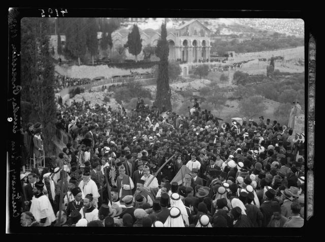 Centennial Easter celebrations. Holy Year. Palm Sunday procession, Bethany to Jerusalem. Passing the Garden of Gethsemane, April 9, 1933
