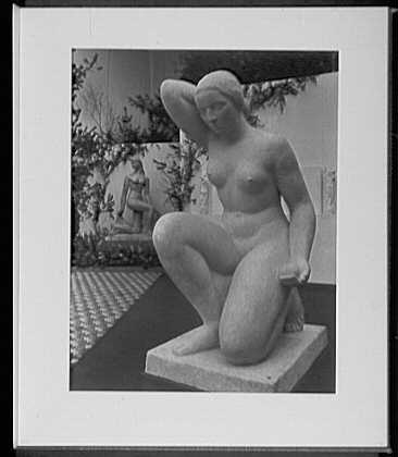 Close ups. Architectural League, two statues; foreground, Nude by Gaetano Cecere; rear, Spirit of the dance by William Zorach