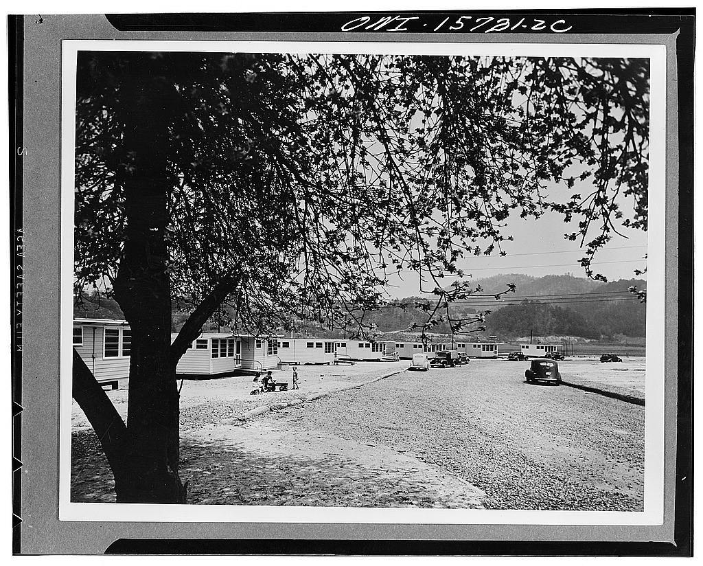 Demountable employee housing. Group of construction workers' houses, built on demountable principle, on a dam construction project in North Carolina. Some of these houses are on their third location since they were first built in Alabama and hauled approximately 300 miles in sections