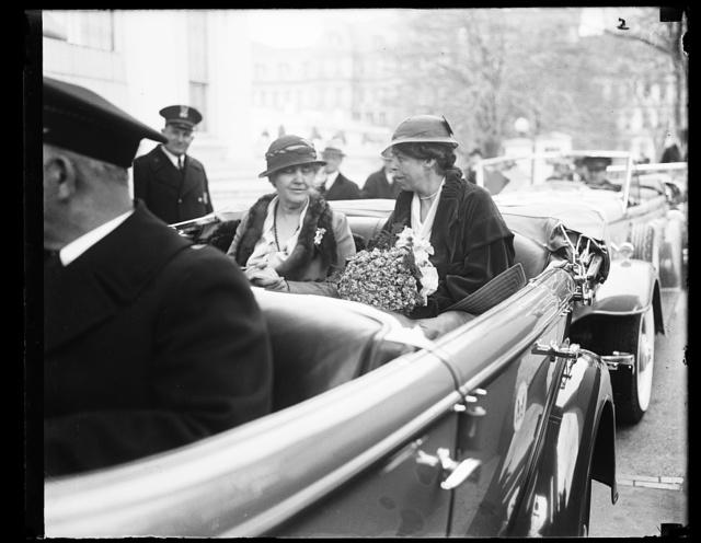 [Eleanor Roosevelt, right, in automobile]