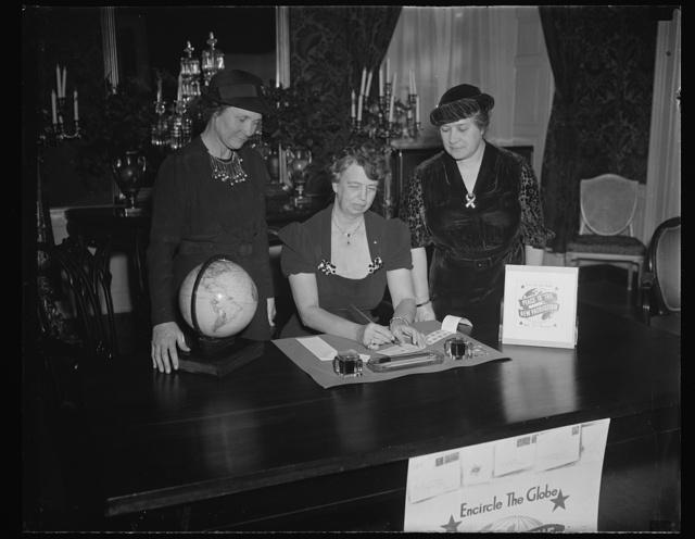 ER [i.e., Eleanor Roosevelt] globes, 2 women