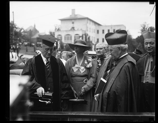 [Franklin D. and Eleanor Roosevelt at Catholic University, Washington, D.C.]