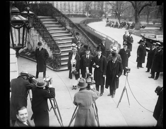 [Franklin D. Roosevelt inauguration. Eleanor Roosevelt and Franklin D. Roosevelt and photographer outside White House, Washington, D.C.]