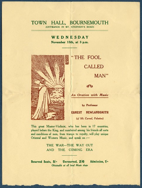 Lecture announcement, The Fool Called Man: An Oration with Music, by Ernest Newlandsmith, Town Hall, Bournemouth, November 15, [1933]