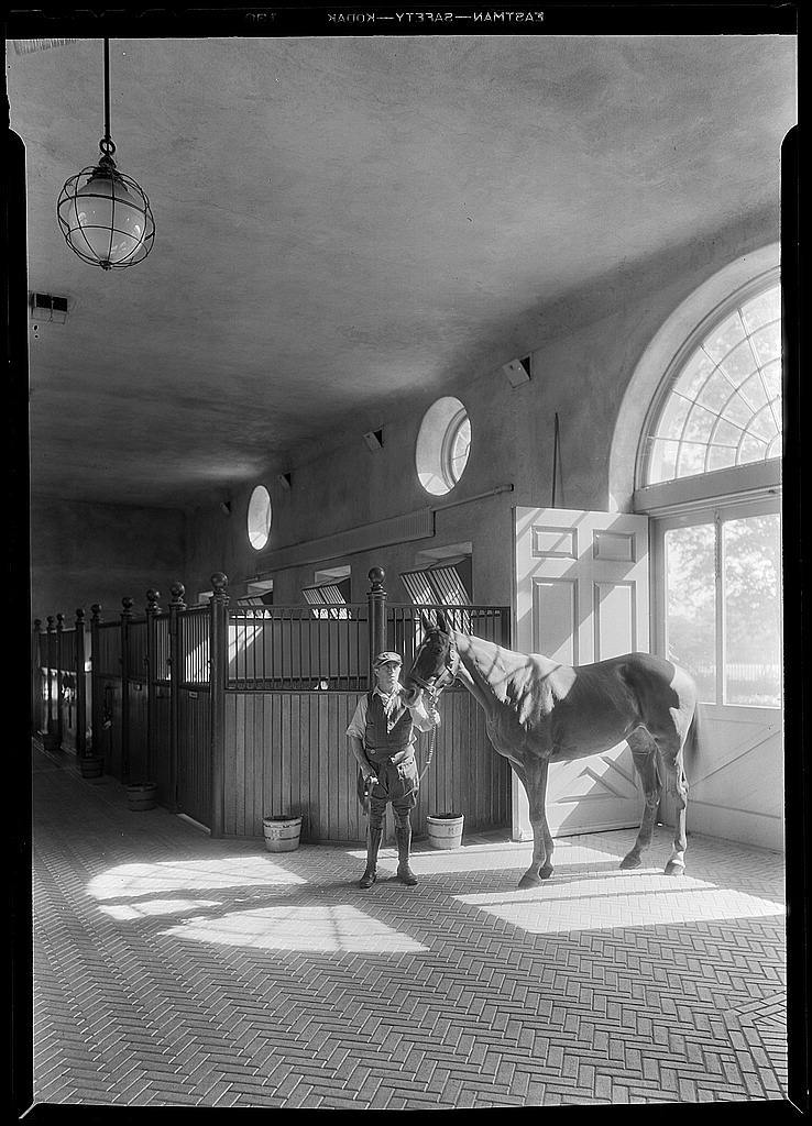Marshall Field, Lloyds Neck, Huntington, L.I. Interior view of stable with horses