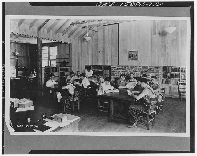 Miscellaneous design. Libraries in rural areas are among the great needs of the Tennessee Valley. The one shown in this photograph was built and equipped with the assistance of work relief labor out of primitive local materials