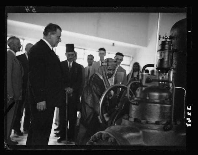 Opening ceremony of the P.E.C. [i.e., Palestine Electric Corporation] Jordan plant. H.H.Emir Abdullah starting turbines