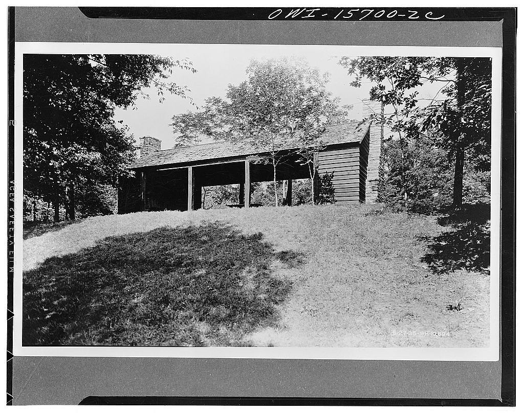 Picnic shelter, more or less typical of many such structures on TVA (Tennessee Valley Authority) recreational properties. All were built with CCC (Civilian Conservation Corps) or similar work relief assistance with local materials to minimize cash expense