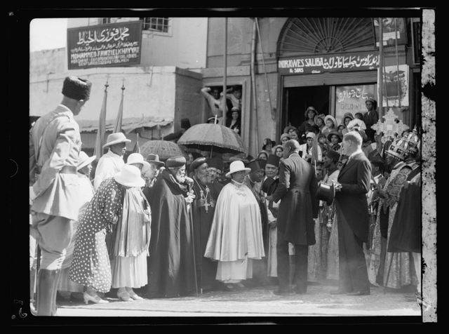 Queen Mannen of Ethiopia visits Jerusalem. Sept. 6, 1933. H.M. Queen Mannen with members of the Abyssinian clergy on way to visit the cuurch of the Holy Sepulchre
