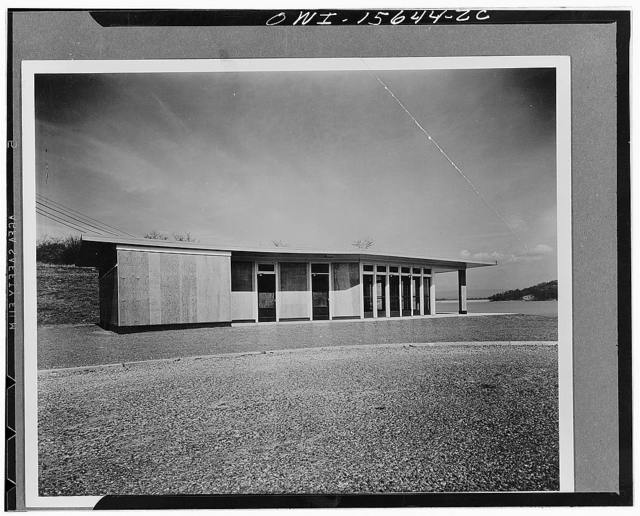 Recreational structures. Concession building with rest rooms and tea terrace overlooking Chickamauga Lake and Dam. Structure consists of weatherproof plywood in natural color butted and calked at joints, with low concrete base painted red