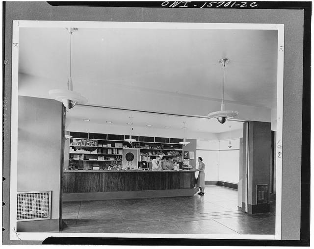 Refreshments concession inside the Norris visitors' building (compare with notes on K 1867). In the design of such facilities the TVA (Tennessee Valley Authority) wanted to demonstrate simple, clean, efficient arrangements which at the time were not known or appreciated in the valley