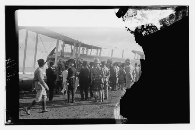 Taken on the 14th Sept. 1933 when the remains of King Feisal of Iraq were brought to Haifa from Europe to be flown into Baghdad.