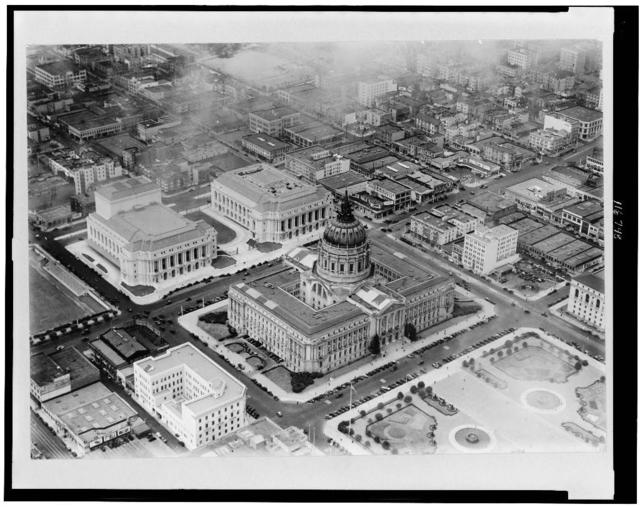 View of Civic Center from Goodyear blimp, Aug. 26, 1933
