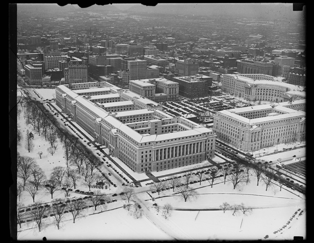 [Aerial view, Federal Triangle in snow, Washington, D.C.]