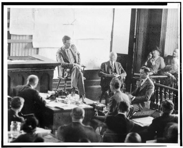 Anne and Charles Lindbergh on the witness stand / World-Telegram staff photo.