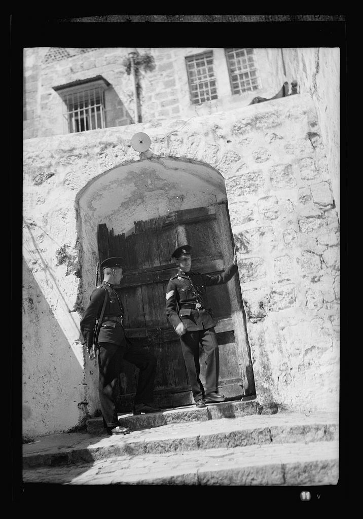 British police guarding entrance to Ch of H Sepulchre [i.e., Church of the Holy Sepulchre]