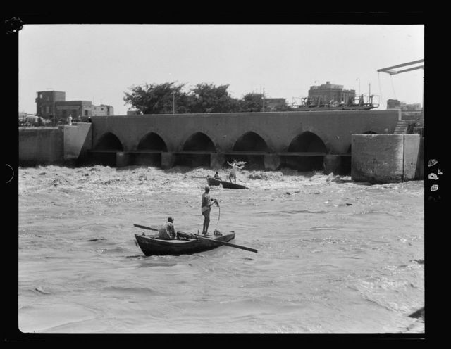 Cairo and district, Egypt. Fishermen below the barrage casting their circular nets into the swift current
