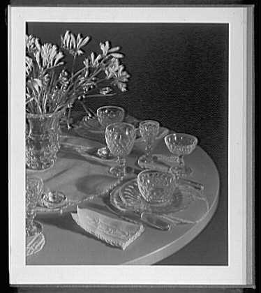 Close ups. Steuben Glass, detail of table set up