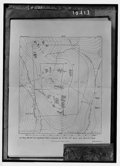 Contours of Mt. Moriah. Temple area according to Dr. Schick