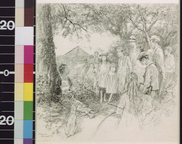 [Crowd of children standing around a boy leaning against a tree]