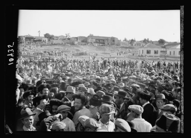 Crowd of mixed Orthodox Jews who arrived on the scene on mass to force the discontinuing [of the Maccabee football game]