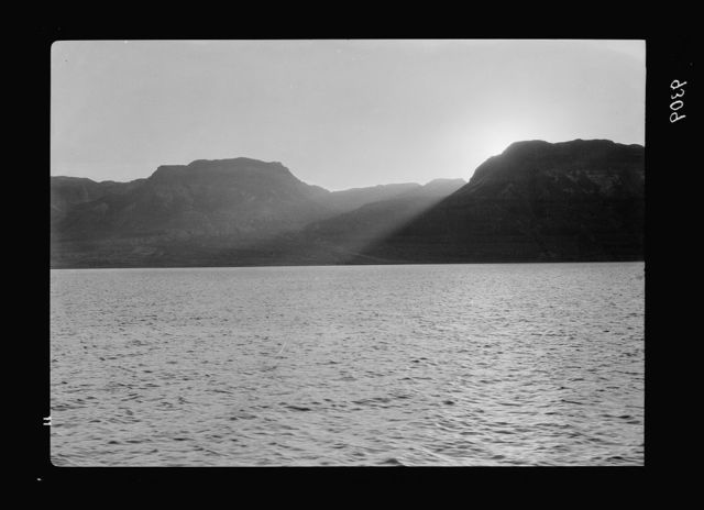 Dead Sea Album, prepared for the Palestine Potash Ltd. Fading of the day. The last rays piercing the craggy coast