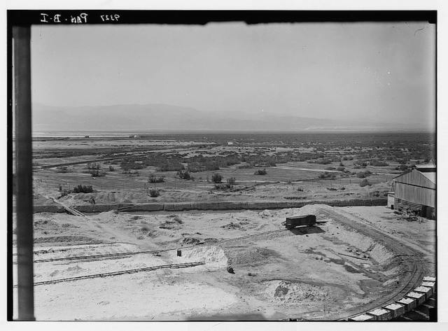 Dead Sea album prepared for the Palestine Potash Ltd. Panorama in two sections also taken from the factory looking S.E. and south toward the Akaba. Wady Figra & Ein Arous are in the far distance to the extreme right