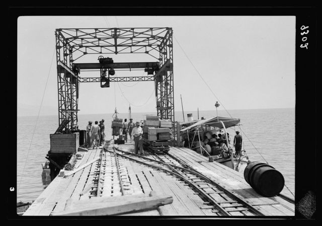 Dead Sea Album, prepared for the Palestine Potash Ltd. Passenger motor-boat about to leave for the south end