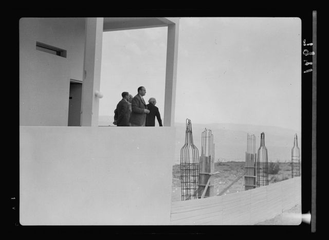 Dead Sea Kallia Hotel. Mr. Levy, manager on upper terrace. Toscanini in group