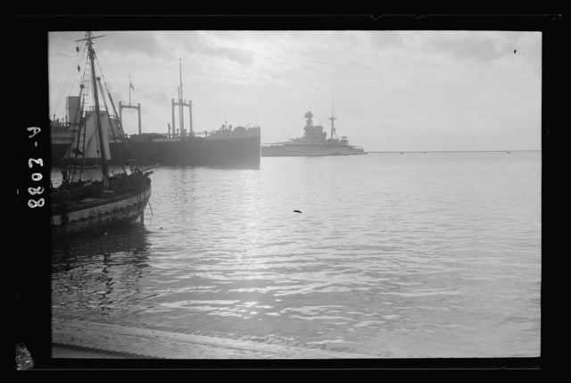 Egypt. Suez Canal. British warships at entrance of canal