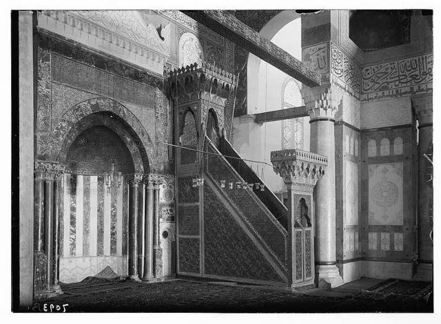 El Aksa [i.e., al-Aqsa] Mosque. Cedar pulpit & mihrab