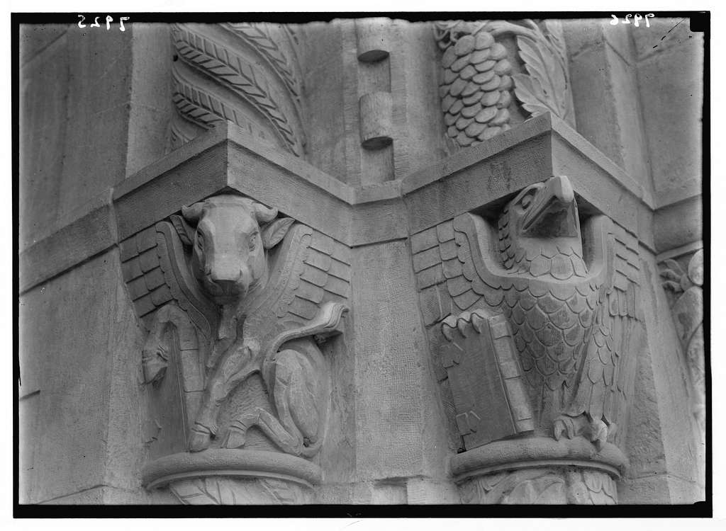 Entrance to Y.M.C.A. Symbolic figure of St. Luke. The bull ; symbolic figure of St. John. The eagle